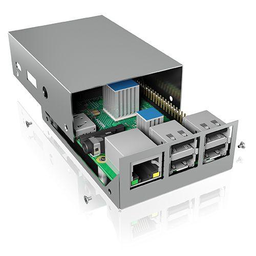 ICY Box IB-RP104-S Carcasa para Raspberry Pi 2 y 3, plata