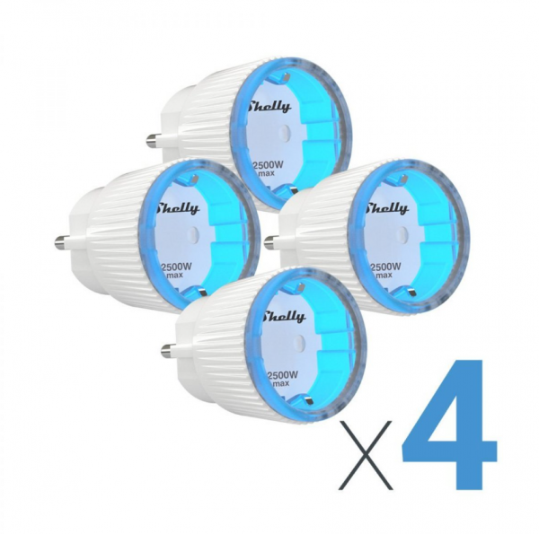 Shelly Plug S Enchufe WiFi, Pack 4 unidades