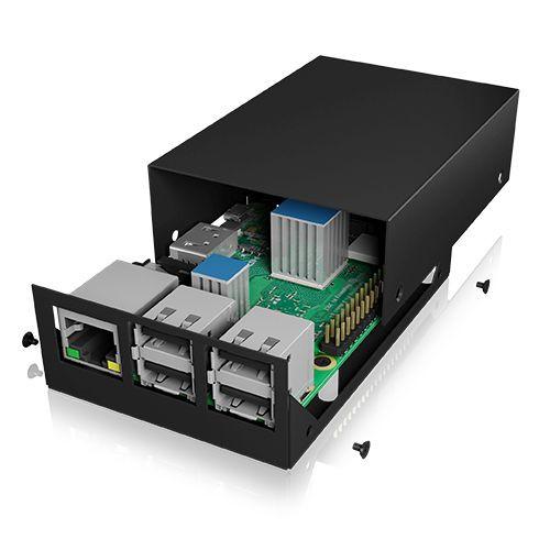 ICY Box IB-RP104-B Carcasa para Raspberry Pi 2 y 3, negro