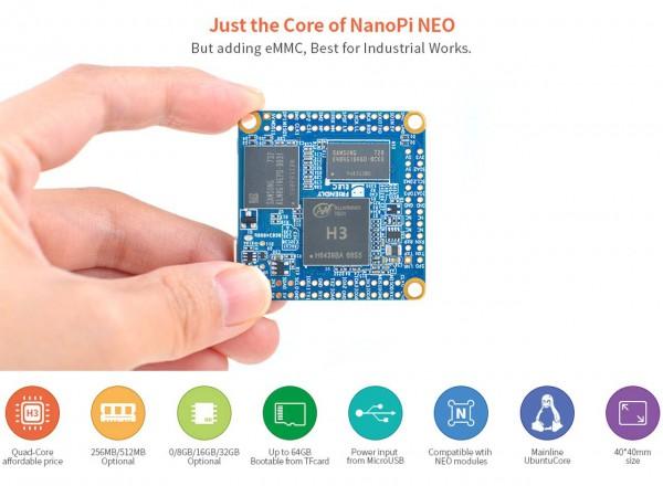 FriendlyELEC NanoPi NeoCore LTS- 512MB 8GB EMMC QuadCore Allwinner H3 Pins mounted