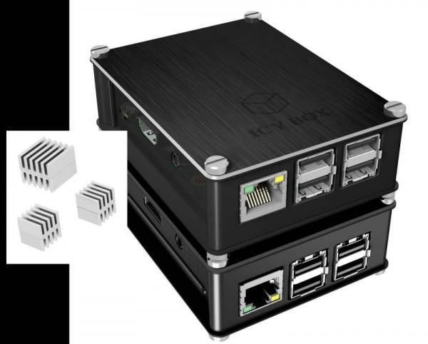 Raspberry Pi Carcasa negra/gris para Pi 4